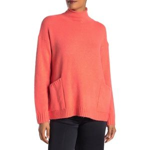 Ady P Large Coral Roll Neck Tunic Sweater Top